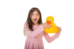 School aged child with a rubber duck Royalty Free Stock Image