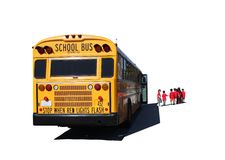 School Aged Children Departing a School Bus. On a Field Trip Isolated on White Royalty Free Stock Photos