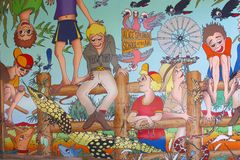 Wall painting of the School of the Air,Alice Springs, Australia