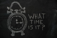 School alarm clock and What time is it? text on black chalkboard. School alarm clock and Whta time is it? text drawn with chalk on blackboard and copyspace Royalty Free Stock Photos