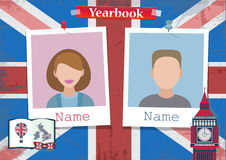 School album yearbook and English language. Vector royalty free illustration