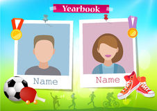 School album yearbook and sport. Vector royalty free illustration
