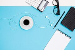 Free School And Office Supplies Lie Neatly On A White And Blue Background Stock Photo - 183769630