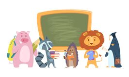 Free School Animals. Back To School Cartoon Characters. Cute Students Lion, Raccoon, Hedgehog With Books And Bags Standing Royalty Free Stock Image - 189532386