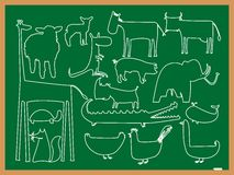 School animals drawing Stock Images