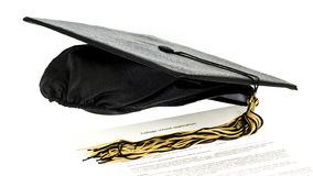School application for college and grad hat Royalty Free Stock Image