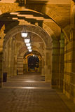 School architecture at night. University campus at a Los angeles school. brick architecture. Campus school at night. Corridor along Old Royce Hall Stock Photo