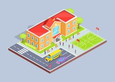 School Area 3D Illustration on Grey Background. School area isolated 3d vector illustration on grey background. Cartoon style teenage students, two-storey Stock Image