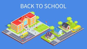School Area 3D Illustration and Road to Home. Back to school poster with school area and road to educational establishment 3d vector. Two-storey building, sports Stock Photo