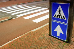 School area with sign for pedestrian cross Royalty Free Stock Images
