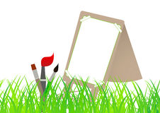 School art. Art brushes and stand in front of grass background Royalty Free Stock Photo