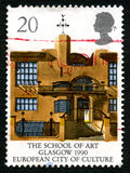 The School of Art in Glasgow UK Postage Stamp royalty free stock photography