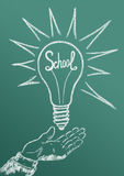 School. The school as a power source of science with ideas, knowledge, discoveries vector illustration