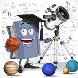 School astronomy textbook with telescope hold Mars on formula ba Stock Images
