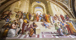 The School of Athens-Vatican museum Stock Images