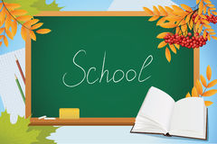 School autumn background with blackboard. Book and yellow leves vector Stock Image