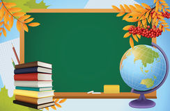 School autumn background with blackboard. Globe, books and yellow leves vector Royalty Free Stock Images