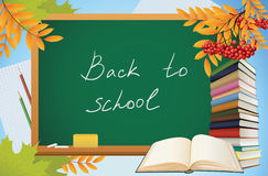 School autumn background with blackboard Stock Photography