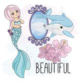 School Autumn Sea Underwater Vector Illustration Set MERMAID MIRROR stock illustration