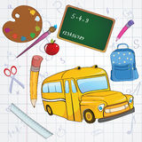 School background. Vector illustration of cool school icons on the funky hand-drawing style background royalty free illustration
