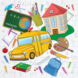 School background. Vector illustration of cool school icons on the funky hand-drawing style background stock illustration
