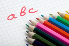 School background. With pencils and paper royalty free stock photo