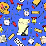 School background with accessories schoolboy. Seamless pattern Stock Images