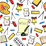 School background with accessories schoolboy. Seamless pattern. Hand lineart Stock Image