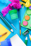 School background- art lesson. Background with school equipment for art lesson Royalty Free Stock Images