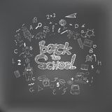 Back to school background with hand drawn chalk doodles. Lettering for banners, posters, flyers. Creative sketch design Stock Image