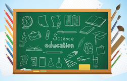 School background with blackboard and symbols Stock Photography