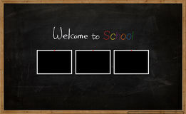School background. The school board with picture and words stock illustration