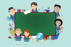 School, background, children on the background of a school chalk Royalty Free Stock Photo