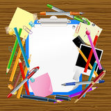 School background with clipboard Royalty Free Stock Image