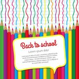 School background of colored pencils Royalty Free Stock Photos
