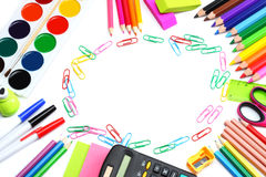School background. colored pencils, pen, pains, paper for  school and student education  on white Stock Photo