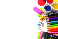 School background. colored pencils, pen, pains, paper for  school and student education  on white Royalty Free Stock Image