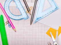 School background with colorful accessories frame Stock Images