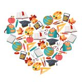 School background with education icons and symbols Royalty Free Stock Photo