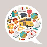 School background with education icons and symbols Stock Photos