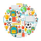 School background with education items. Illustration of colorful supplies and stationery Royalty Free Stock Photos