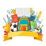 School background with education items. Illustration of colorful supplies and stationery Stock Photo