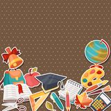 School background with education sticker icons and Stock Photos
