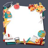 School background with education sticker icons and Stock Image