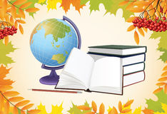 School background with globe, books and leaves Stock Image