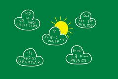 School Background. Background with green chalk board with clouds with exams and formulas and yellow sun Stock Images