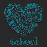 School background with hand drawn icons on chalk Royalty Free Stock Photo