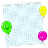 School background. Notepad sheet. Book into the cell. Page and balloons. Space for text Stock Image