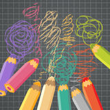 School background with pencils. Vector illustration. Royalty Free Stock Photos