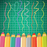 School background with pencils. Vector illustration. Stock Photo